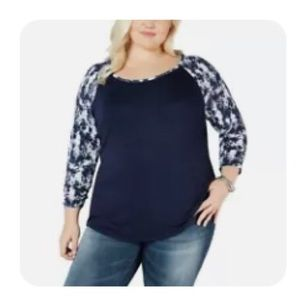NWOT Style & co. navy top size 0X
